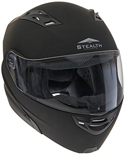 Stealth Vertice Full Face Modular Helmet (Flat Black, X-Large) (Flat Black Modular Helmet)