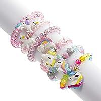 Set of 6 Unicorn Rainbow Bracelets, Little Girl Animal Bracelets, Teens Kids Unicorn Pendant Beaded Bracelet Girl Party Favor Pretend Play Bracelet