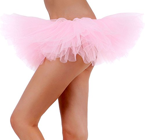 Tutu Skirt for Women Tulle 5 Layered Ballerina Dancer Tutu Dress up Drss uo Mini Skirt-Light Pink