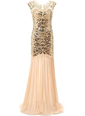 Bbonlinedress 1920s Beaded Sequins Gatsby Flapper Dresses Long Vintage Cocktail Prom Gowns