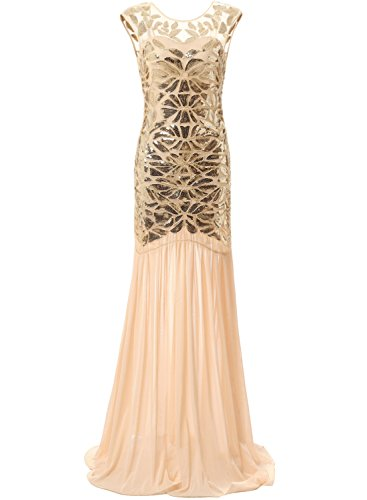 [Bbonlinedress 1920s Beaded Sequins Gatsby Flapper Dresses Long Vintage Cocktail Prom Gowns Gold S] (Gold Flapper Dress)
