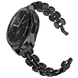 TOTOUTHS Compatible with Samsung Galaxy Watch 42mm Bands Women Stainless Steel Bracelet Replacement for Galaxy Active 2 40mm 44mm Gear S2 Classic Gear Sport Metal Strap Wristband 20mm Pins Black