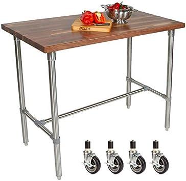 Amazon Com John Boos Cucina Classico Kitchen Island With Walnut End Grain Top Casters 48 W X 24 D X 36 H Furniture Decor