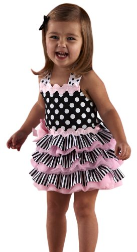 Mud Pie Tres Jolie Ribbon Ruffle Sundress , Black/White, 2 3T by Mud Pie