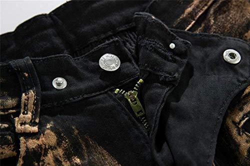 Adelina In W28 Abbigliamento Uomo Pantaloni L019 Skinny A Roso Oro Jeans Rivestiti W34 Moto Da Kupferig Motociclista Argento fUx6qfwrS