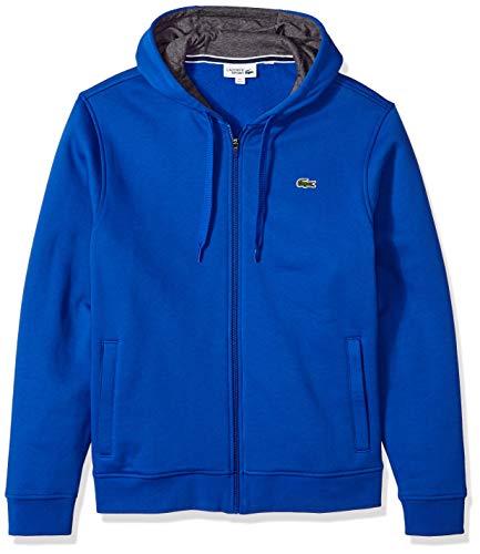 Lacoste Men's Sport Long Sleeve Fleece Full Zip Hoodie, Steamer/Pitch, XX-Large (Long Zip Sleeve Full Fleece)