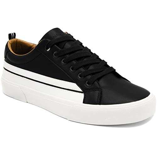 - Nautica Men's Casual Lace-Up Fashion Sneakers Oxford Comfortable Walking Shoe-Calliope Smooth-Blackk-9.5