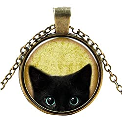 Goddesslili Women's Fashion Steampunk Mystery Cat Retro Cabochon Glass Pendant Chain Necklace Girls Women Mother Jewelry Gifts