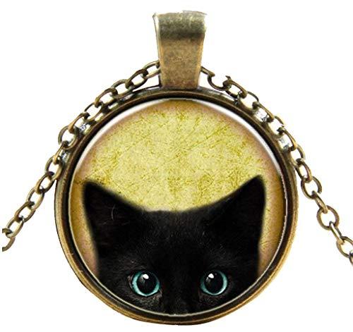 Goddesslili Women's Fashion Steampunk Mystery Cat Retro Cabochon Glass Pendant Chain Necklace Girls Women Mother Jewelry Gifts ()