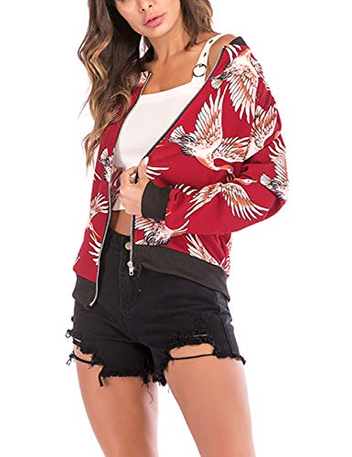 Lrud Floreale Giacca Lunga Manica Red 2 Donna 5aa6r0xqw