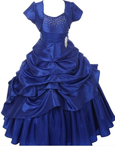 AkiDress Layered Bolero Flower Girls Dress Set Pageant Wedding Prom Easter Prom Royal Blue 2-12 (Bolero Dress Girls)