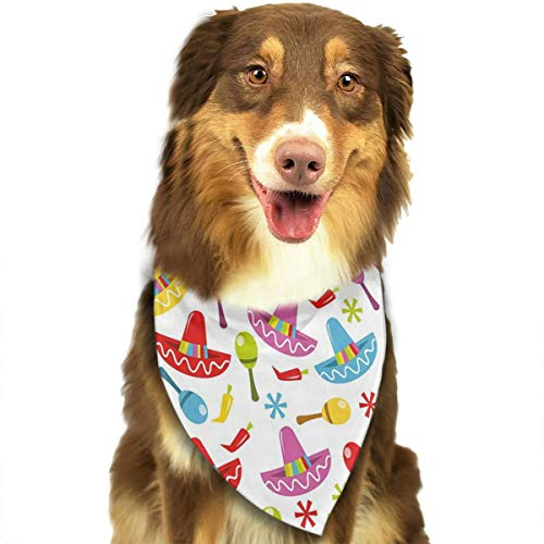Nutmix Fiesta Abstract Sombrero and Maracas Pattern Geometric Star Design Colorful Illustration Decorative Dog Bandana Adjustable Pet Triangle Scarf Bibs Accessories for Dog/Cats
