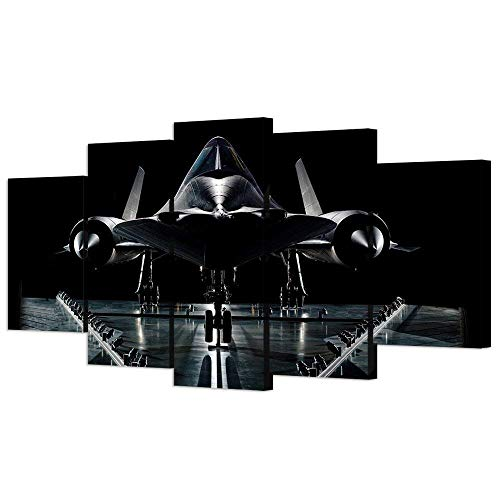VVOVV Wall Decor - 5 piece Vintage Airplane Wall Art Painting Giclee Prints Military Reconnaissance Aircraft Pictures Moden Black Plane Model Poster Wall Paintings For Living Room Contemporary - Print Art 71