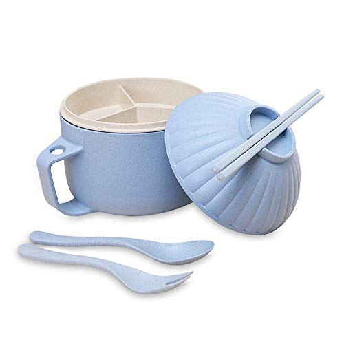 Pawaca Wheat Straw Instant Noodle Bowl Set,Large Capacity Japanese Ramen Noodle Soup Bowl Kit Shell Shape Household Tableware with Lid Chopsticks Spoon for Dormitory,Family,Office