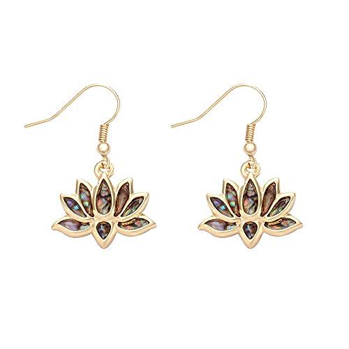 MANZHEN Lotus Flower Blossom Earrings Nature Abalone Paua Shell Dangle Earrings (gold) ()