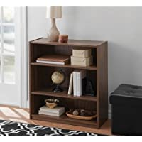 Easy to Assemble, Contemporary Style, Mainstays 3-Shelf Wood Bookcase in Walnut, 2 pack