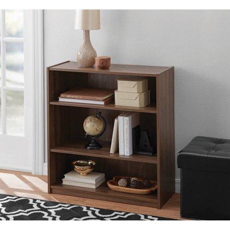 Mainstays Walnut 3-Shelf Wood Bookcase with Elegant Honeycomb Vase