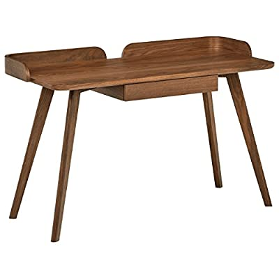 """Rivet Mid-Century Curved Wood Table Home Office Computer Desk, 48.4""""L, Walnut - A classic mid-century design, this desk features iconic clean lines and curves along the back edges for a style that blends with modern or contemporary décor.  It features an open work area with a middle drawer underneath for storage. 48.4""""W x 22.2""""D x 31.1""""H Walnut veneer finish - writing-desks, living-room-furniture, living-room - 41BUFDyHB L. SS400  -"""