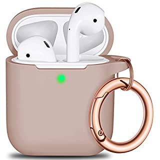 AirPods Case Cover Keychain, Full Protective Silicone AirPods Accessories Skin Cover for Women Girl with Apple AirPods Wireless Charging Case,Front LED Visible-Milk Tea