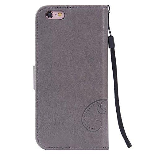 Papillon Fleurs Embossed Retro premium PU Housse en cuir flip magnétique Support Cover Wallet Case Avec poignet main pour iPhone 5 5s SE ( Color : Gray , Size : IPhone 5S SE )