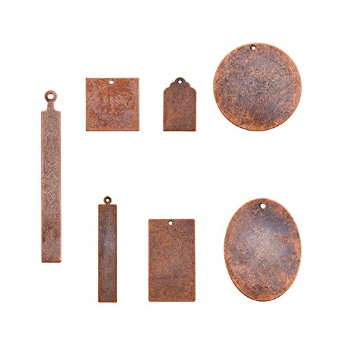 - Pandahall 14pcs Red Copper Brass Blank Stamping Tag Pendants Metal Tags Charms DIY Jewelry Making Mixed Oval Round Rectangle Square 7pcs/Set