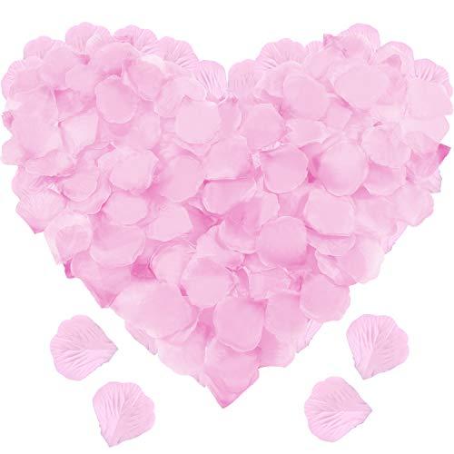 Leinuosen 4000 Pieces Silk Rose Petals Artificial Flower Petals for Wedding Valentine Day Home Party Vase Decor Wedding Bridal Flowers Decoration (LightPink)