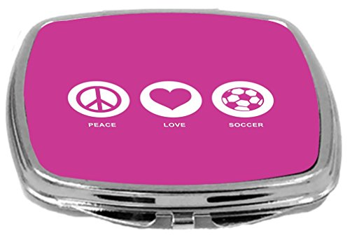 Rikki Knight Peace Love Soccer Design Compact Mirror, Rose Pink, 2 Ounce