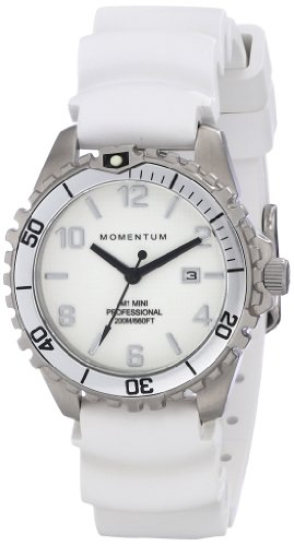 Momentum M1 Mini Stainless Steel Watches for Women' Quartz Rubber Sports, Color:White (Model: 1M-DV07WS1W)
