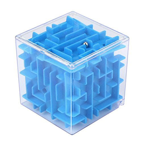 Price comparison product image Livoty 3D Cube Puzzle Maze Toy Hand Game Case Box Fun Brain Game Challenge Fidget Toys (blue)