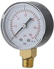 Práctico Piscina Spa Filtro Manómetro de presión de agua Mini 0-60 PSI 0-4 Bar Montaje lateral 1/4 pulgada Rosca de tubo NPT TS-50 ToGames-ES