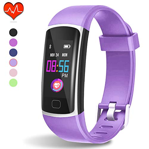 Fitness Tracker HR, Activity Tracker with Heart Rate Monitor and Sleep Monitor,Waterproof Pedometer, Step Counter, Calories Counter for Android & iPhone (Lilac)