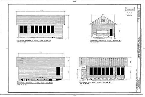 Historic Pictoric Blueprint Diagram HABS KY-288 (Sheet 3 of 3) - Cadentown Rosenwald School, Caden Lane, Lexington, Fayette County, KY 12in x 08in