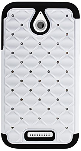 Premium Hybrid PC and Silicone Double Protection Diamond Bling Case Cover - Retail Packaging - White/Black ()