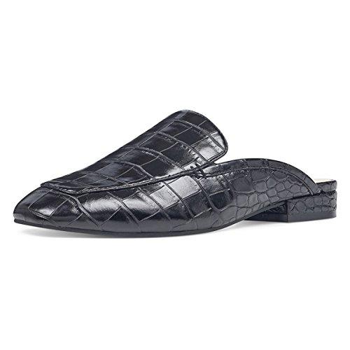 - YDN Women Low Heels Mules Slip On Flats Loafers Pointy Toe Clogs Slide Slipper Shoes Crocodile Grain Black 8.5