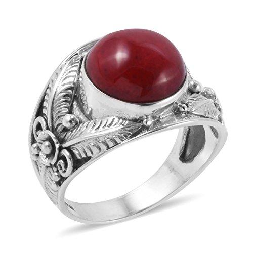 925 Sterling Silver Round Sponge Coral Fashion Ring For Women Size (Sterling Silver Sponge Coral)