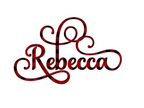 Red Buffalo Plaid Elegant Scroll Name Pattern Vinyl Decal Sticker for Laptop...