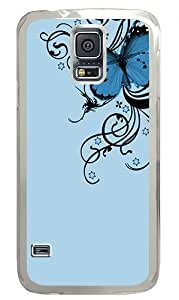 Butterflies Pattern Custom Samsung Galaxy S5 Case Back Cover, Snap-on Shell Case Polycarbonate PC Plastic Hard Case Transparent