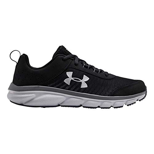 Under Armour Kids' Grade School Assert 8 Sneaker, Black (001)/Pitch Gray, 5 (Size 5 Big Boys Shoes)
