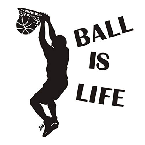 Balakie Ball is Life Sport Playing Basketball Wall Stickers DIY Removable Wall Decal Home Window Decor Waterproof Murals