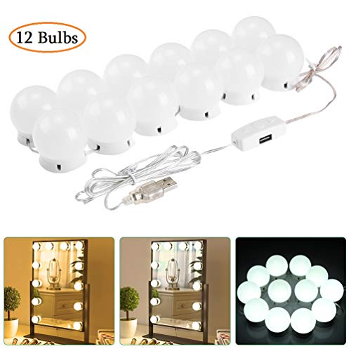 - LEDGLE LED USB Hollywood Style LED Vanity Mirror Lights Kit with 12 Dimmable Bulbs, 5 Brightness Levels, 3 Color Temperature Modes,Include 20pcs 3M Tape for Makeup Vanity Table