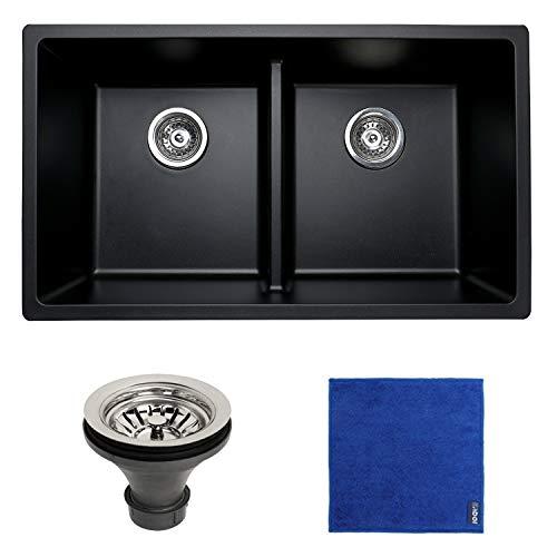 Enbol GDS-3118-B, 31 Inch Black Color Quartz Granite Composit Engineered Stone Double Bowl 50/50 Undermount Kitchen Sink, Low Divide for More Workspace