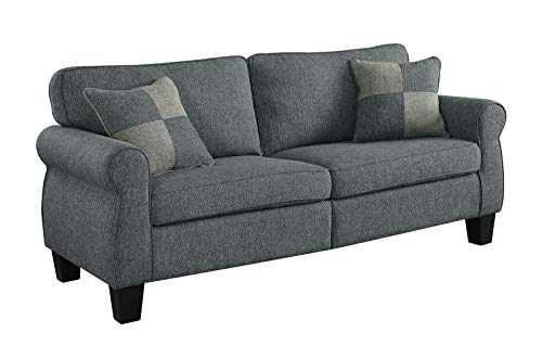 Benzara BM182866 Fabric Upholstered Sofa with Rolled Arms and Wooden Legs Gray