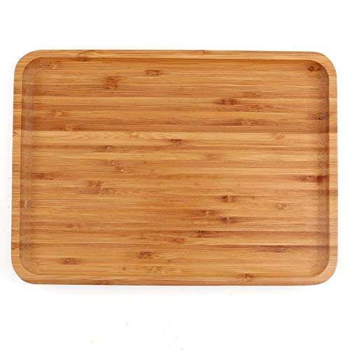 Bamboo Round Plates,2 Pack Cheese Plates Coffee Tea Serving Tray Fruit platters Party Dinner Plates Sour Candy Tray 13 x 9 x 0.8 inches ()