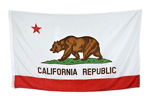 Shop72 US California State Flags - California Flag - 3x5' Flag From Sturdy 100D Polyester - Canvas Header Brass Grommets Double Stitched From Wind Sid