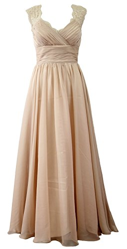 MACloth Women Vintage Long Bridesmaid Dress V Neck Lace Formal Evening Gown (24w, Champagne)