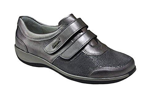 Stuppy Damen Klettschuh Silber Leder Stretch Größe 36 bis 42 Fußbett Weite-H Grau