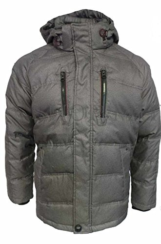 Hawke & Co. Mens Down Feather Fill Coat with Removable Hood (M, Charcoal heather)