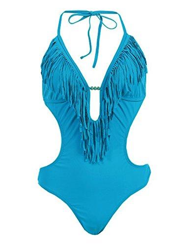 1 Piece/Bikini Monokini Swimsuit With Fringe (Large, Deep Teal)