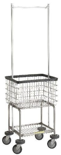 300G55 R&B Wire Deluxe Elevated Laundry Cart w/Double Pole - Carts R&b Laundry