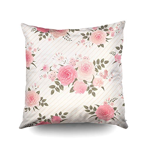 KIOAO Holiday Pillow Covers,Square Throw Pillowcase Covers Standard Floral Background with Bouquets of Roses Vintage Pattern for Wallpaper Fabric Digital Paper Printed with Both Sides 16X16Inch